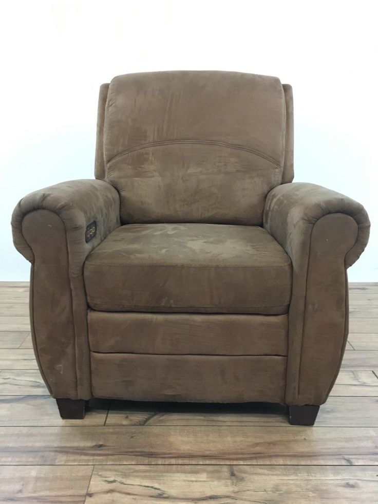 Contemporary Suede Upholstered Massage Chair, missing power cord, not tested for working order