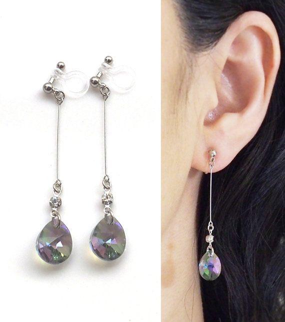 Black Crystal Invisible Clip On Earrings Swarovski Teardrop Dangle Drop Ons Non Pierced