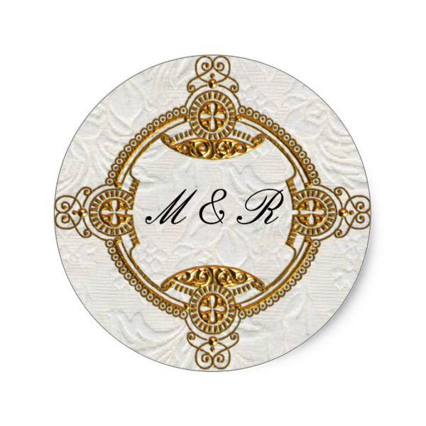 Jewelled Lavender Leaves Wedding Classic Round Sticker #wedding #sticker #gold