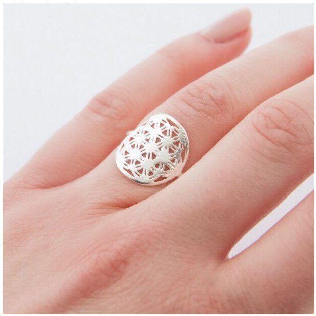 TARA STYLE Ring Blume des Lebens verstellbar Silber