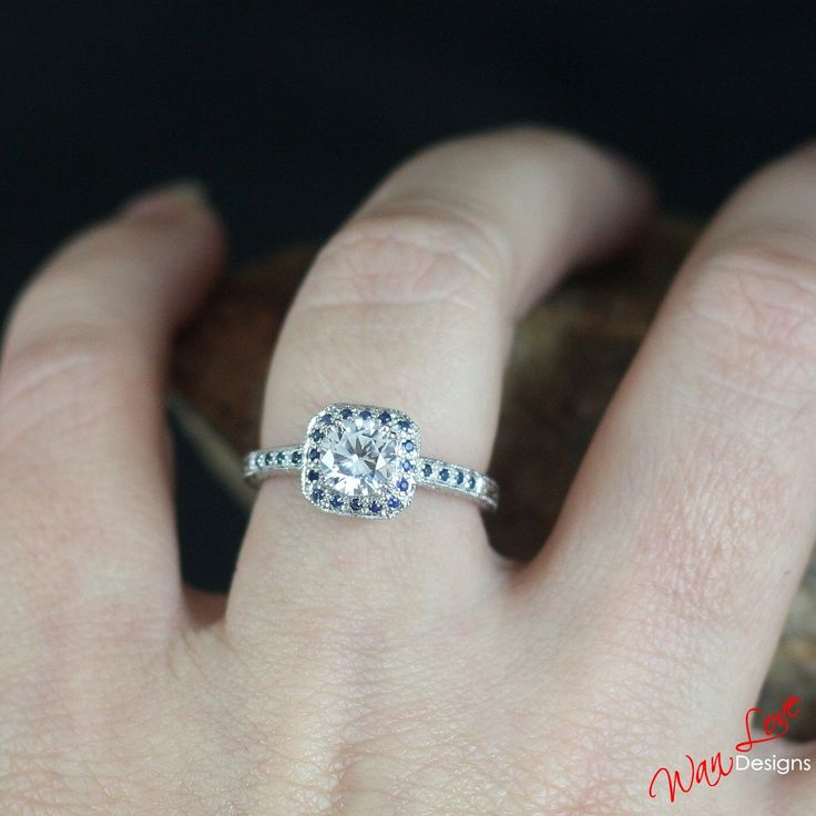 Sample Sale Ready t ship-White Blue Sapphire Antique Cushion Halo Filigree Round Engagement Ring Silver Rhodium-Size 6.5-Wedding-Anniversary by WanLoveDesigns on Etsy https://www.etsy.com/listing/201859821/sample-sale-ready-t-ship-white-blue