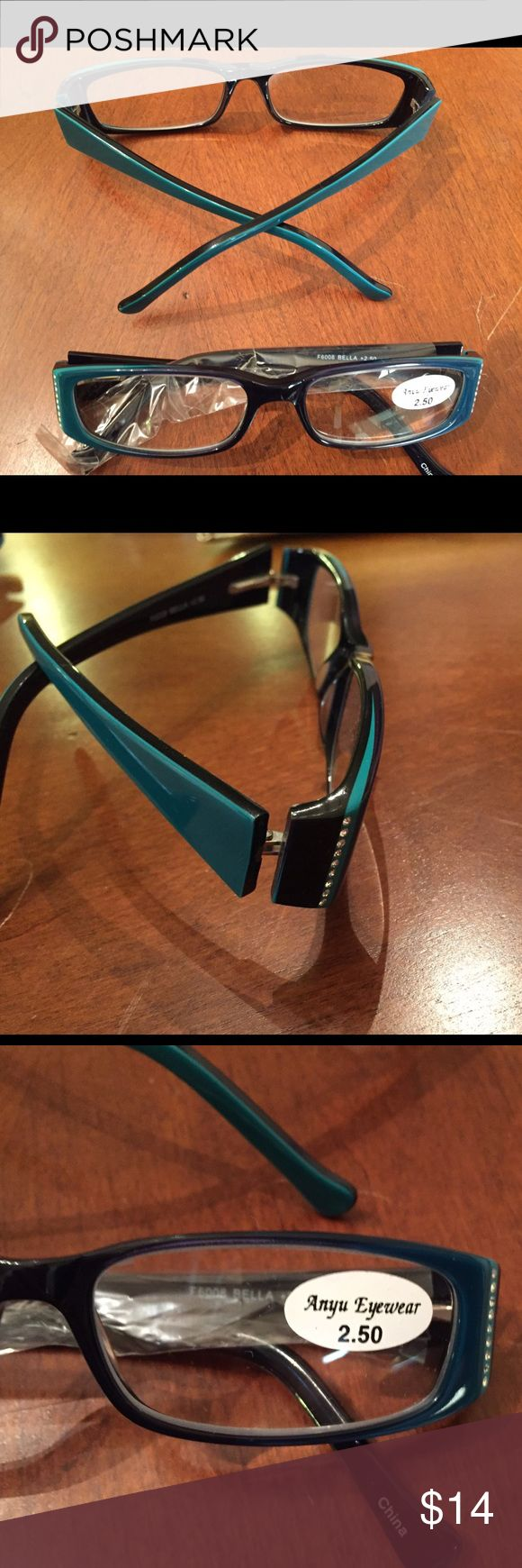 2 Pair of Reading Glasses Turquoise with black and silver sequins on the arms. Have a set at work and 1for home. Never worn. NWT Anyu Eyewear Accessories Glasses