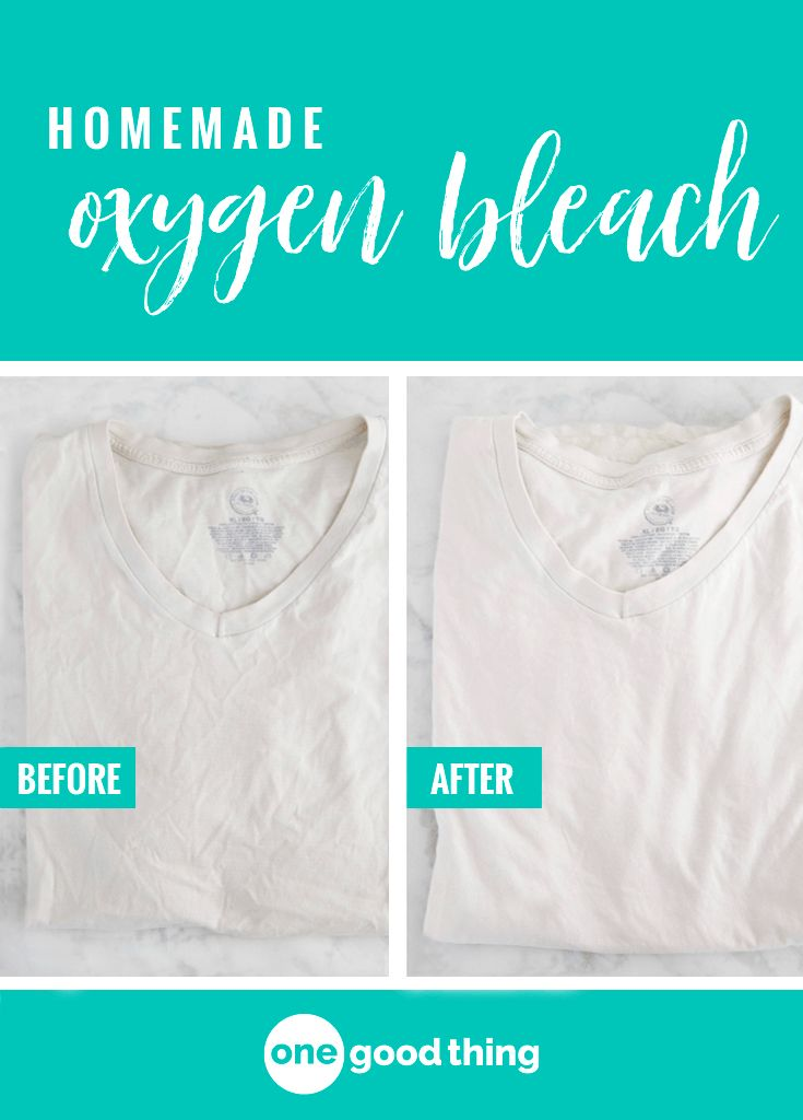 Learn how to use two common cleaning agents to make your own homemade oxygen bleach! It whitens and brightens your clothes just like the store-bought stuff.