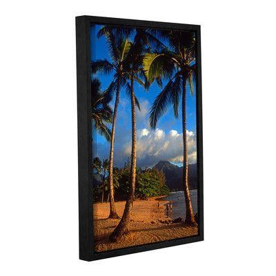 "ArtWall Hanalei Bay Palms by Kathy Yates Frame Photographic Print Size: 12"" H x 18"" W"