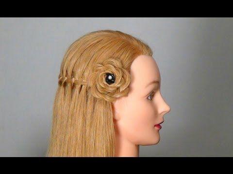 Плетение кос: Французский водопад с цветком из волос.waterfall braid variation with flower