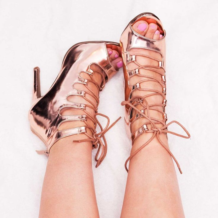 YAMA Lace Up High Heel Stiletto Sandals Shoes - Gold Chrome Leather Style