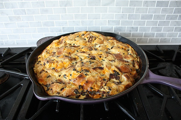 Bacon and Cheese Breakfast Strata with bread, thyme, and onions ...