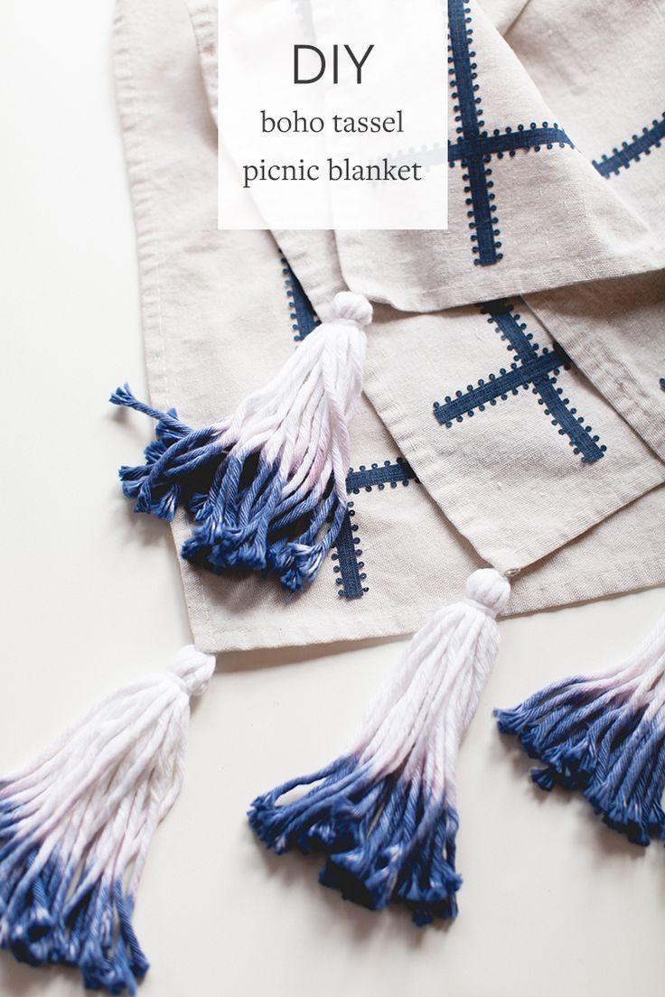 DIY boho picnic blanket with dip-dyed yarn tassels