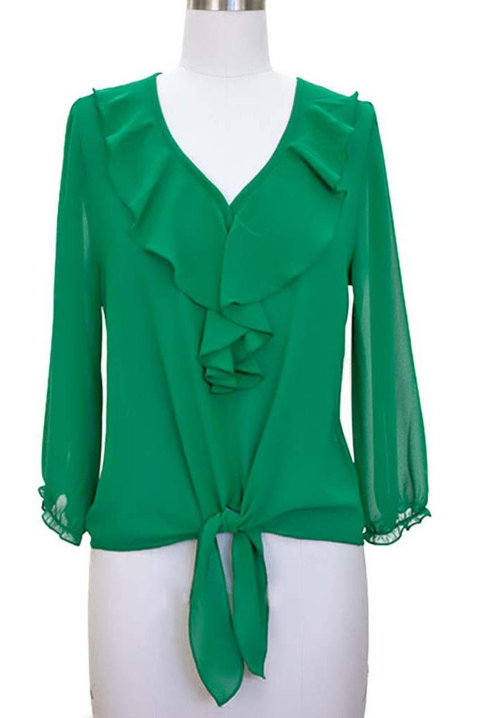 Semi Sheer Loose Blouse Top With Ruffled Neckline