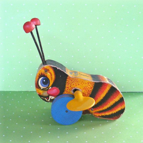 Vintage Fisher Price Bee pull toy