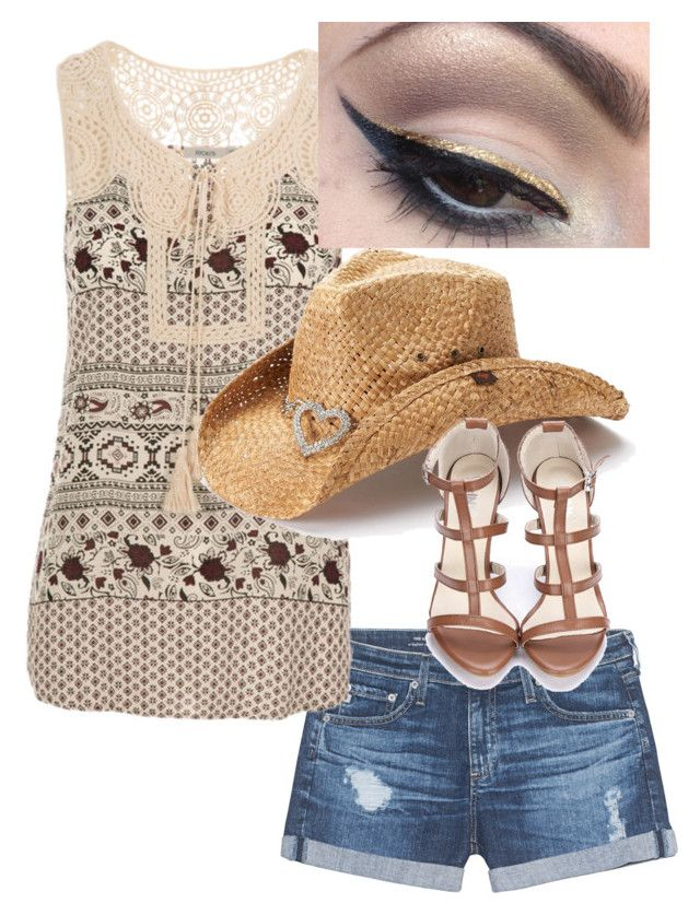 """""""I heart radio festival outfit Vegas 2016. Cut offs lace top. Cowboy hat"""" by mandy-curtis on Polyvore featuring AG Adriano Goldschmied, Peter Grimm and Mehron"""