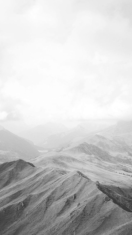 MOUNTAIN NATURE SKY CLOUD WOOD BW WHITE WALLPAPER HD IPHONE