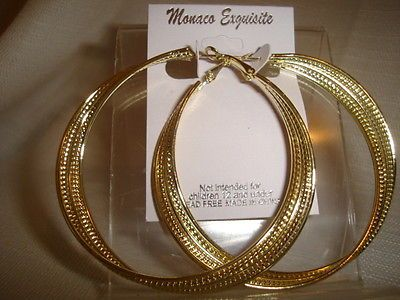 LARGE HOOP EARRINGS SILVER OR GOLD TONE TWISTED HOOPS 3 INCH