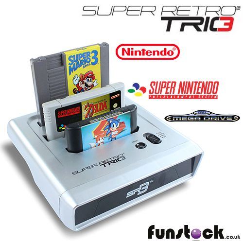 """The Super Retro TRIO is three video game consoles in one - a SNES, a NES, and a Mega Drive. It works with all your old carts and controllers! If you have any old games lying around, this will breathe new life into your collection.   http://www.funstock.co.uk/super-retro-trio-gaming-console  Use code """"PINFUN"""" for 5% off!  #retrogaming #retrogames #retro #snes #nes #megadrive #giftideas"""
