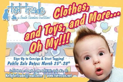 Are you registered with Tot Trade to Consign this season? Volunteer? First Time Mom PreSale? Grandparent PreSale? Military PreSale? Teacher PreSale?  Rush over to www.tottrade.net and come join us! This is an event you don't want to miss!