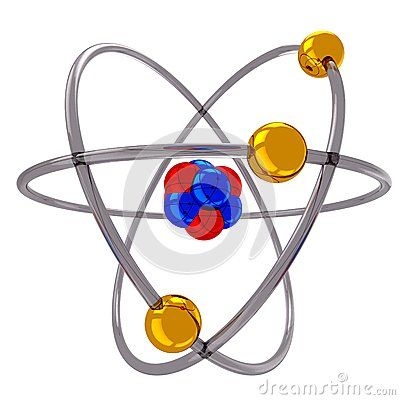 3d atomic structure model with spinning electrons over nucleus.