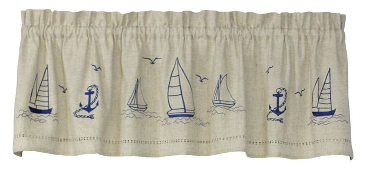 Snapshots Embroidered Sailboats Tier Curtain | Curtain & Bath Outlet