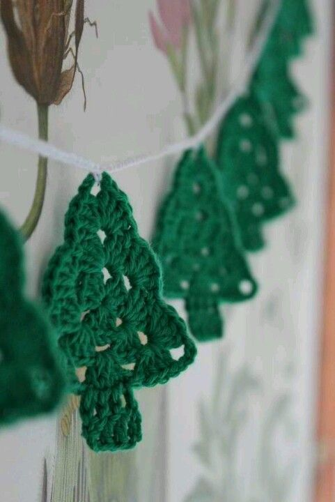 Crocheted pine granny triangles