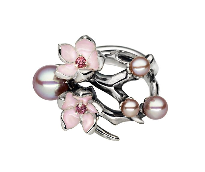 Shaun Leane design: silver cherry blossom ring with rhodalite and pearls. I love the thorns! It's pretty with an edge.