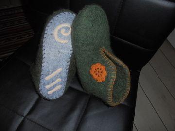 filtede tøfler jeg har lavet til min datter Ina