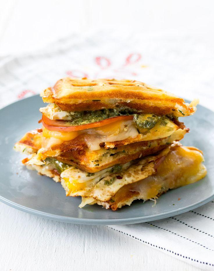 Green Eggs and Ham Waffle Sandwich - Oh So Delicioso