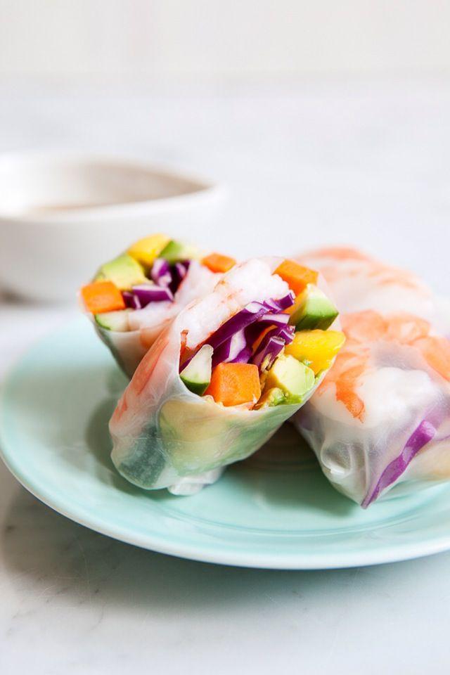 ROLLITOS DE GAMBAS CON VERDURAS Y MANGO (Mango shrimp summer rolls) #RecetasFaciles #RecetasDeVerano