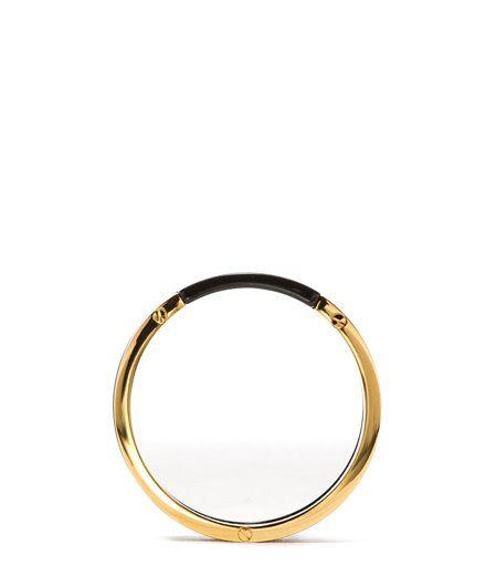 BLACK RESIN BRACELET-Made in Italy black resin and metal rigid bracelet. Diameter: 7 cm.