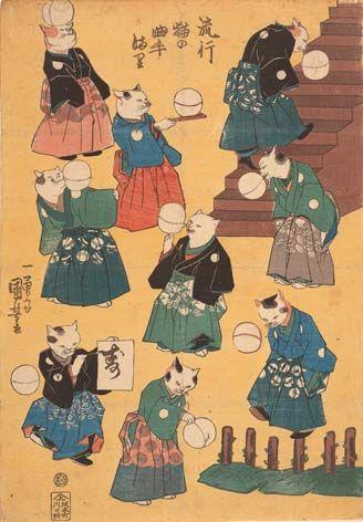 Utagawa Kuniyoshi /Hayarineko no kyokutemari 1848 / Individual possession