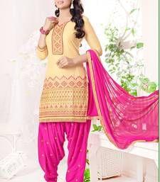 Buy Beige and Pink embroidered cotton semi  stitched salwar with dupatta cotton-salwar-kameez online