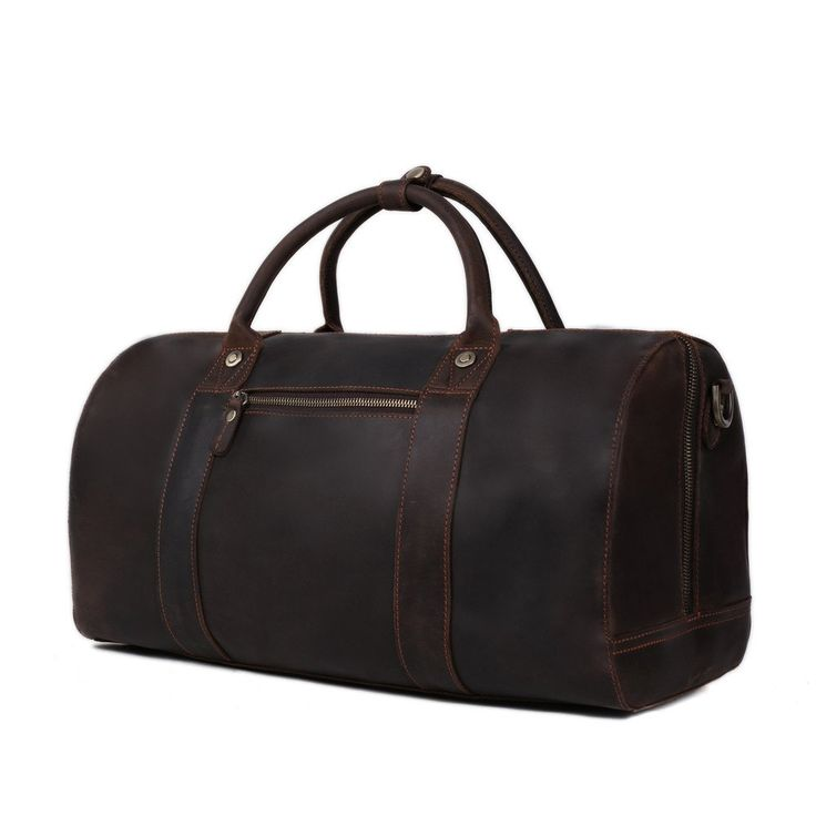 Beautiful dark brown vintage leather travel bag, made of high-quality genuine leather. This leather travel bag comes with a detachable and adjustable shoulder strap for easy carry with style and can be used as carry-on luggage on flights. Pack everything in and head on to your next journey!
