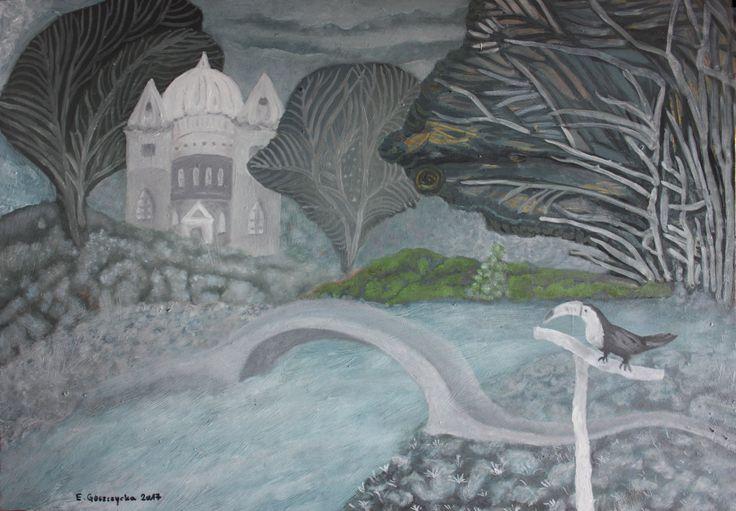 Obraz olejny na płycie, tytuł: Cold grey.  Wymiary: 65 x 45 cm.  Przedstawia bajkowo - mroczną scenę z czarno-białym tukanem.   Sygnowany u dołu. Przed wysyłką zostanie zabezpieczony werniksem satynowym anti UV.