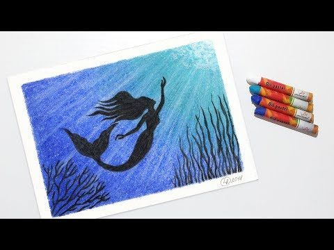 How to Draw a Mermaid Underwater - Oil Pastel Drawing for Beginners