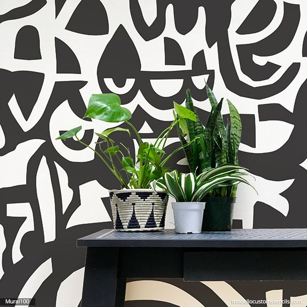 New Abstract Wall Mural Stencil In 2020 Mural Stencil Painted Feature Wall Custom Wall Murals