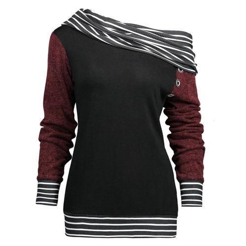 Feitong Plus Size Women Sweatshirts Solid Color Skew Neck Long Sleeve – uotela... 2