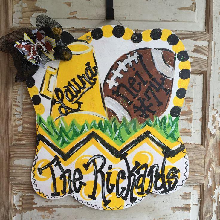 Football Cheerleader Family Door Hanger - pinned by pin4etsy.com