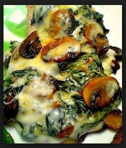 Delicious Creamed Spinach and Sauteed Mushroom Chicken Breasts
