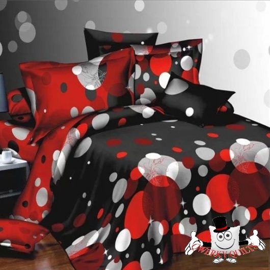 Red Black White Polka Dot  Visit our website for all our 3D Designs & Quilt Covers  www.qwerkyquilts.com
