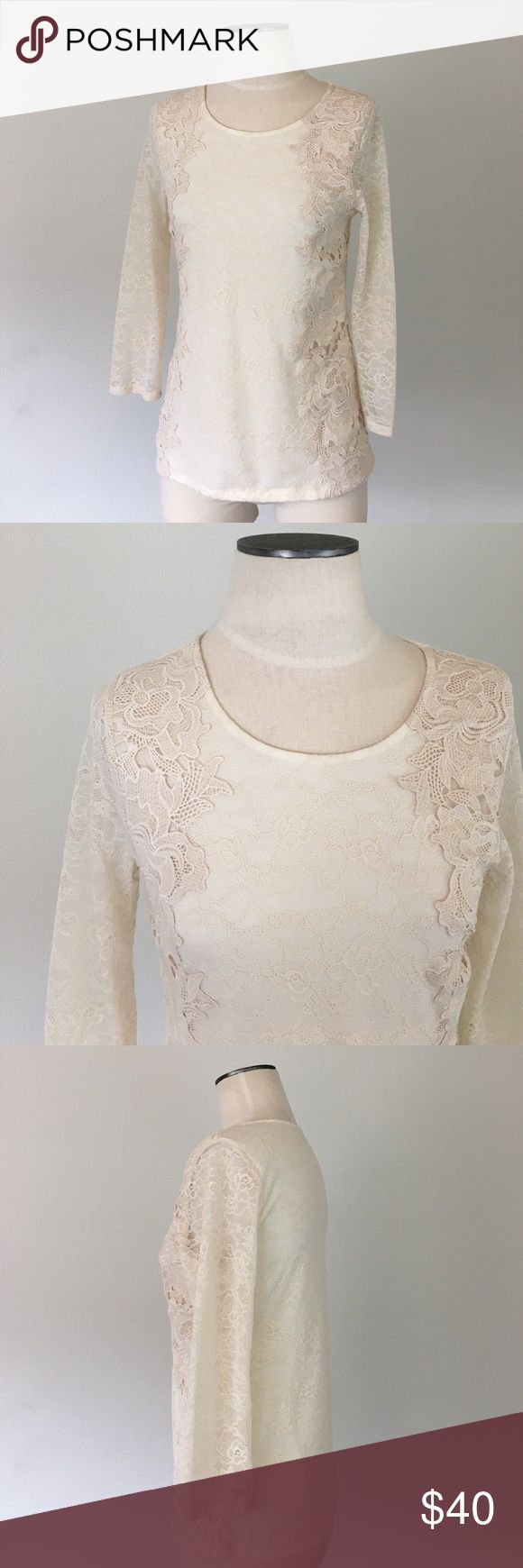"""Anthropologie-Sunday in Brooklyn Cream Lace Top S Anthropologie-Sunday in Brooklyn Cream Lace Top S. Gorgeous cream lace, body is lined (sleeves are not). There's a crochet floral overlay on the sides of the front. Excellent condition. 25"""" from shoulder to hem; 17"""" from armpit-armpit. Anthropologie Tops"""