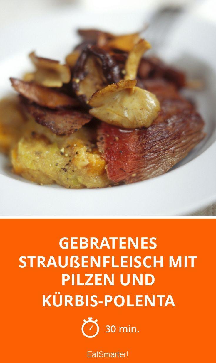 Gebratenes Straußenfleisch mit Pilzen und Kürbis-Polenta - smarter - Zeit: 30 Min.   eatsmarter.de