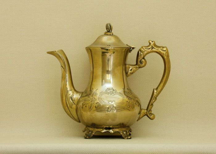Currently at the #Catawiki auctions: Antique Victorian Brass Teapot, silver plated on the inside