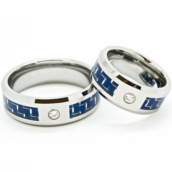 #Wedding #rings #carbon Blue Chip Unlimited - Matching 8mm Blue Carbon Fiber with Diamond CZ Solitaire Tungsten Rings, $67.95 (http://www.bluechipunlimited.com/matching-8mm-blue-carbon-fiber-with-diamond-cz-solitaire-tungsten-rings/)