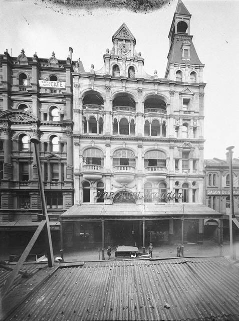 Imperial Arcade.With frontings on Pitt and Castlereagh Sts,Sydney.A part of the Grand Central Coffee Palace on Pitt St.83-85 Castlereagh St/164-174 Pitt St.Built in the Victorian Italianate style of rendered brick in 1890.Demolished in 1961.Rebuilt in 1962 and demolished in 2010.The site is now incorporated into Westfields Sydney.The above photo was taken in 1900 with the Pitt St facade,looking south down Pitt St.A♥W
