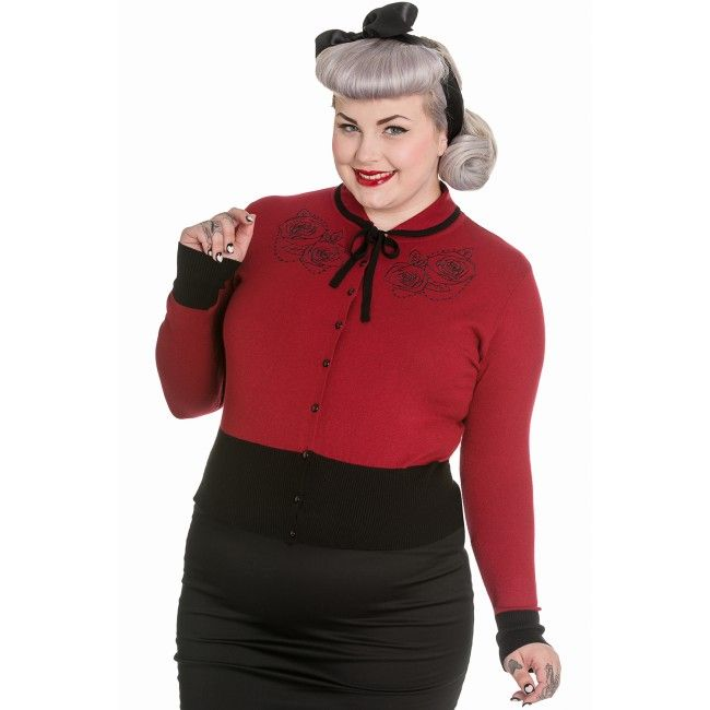 The Olivia Cardigan in burgandy red by Hell Bunny.  We have it in stock now in plus sizes.