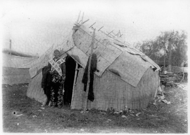 Grand Medicine Lodge and Chief Ojibway, White Earth Indian Reservation, Minnesota, 1910 The sweatlodge ceremony was first practiced by the Plains Indians and has spread to many other tribes. A sweatlodge is typically a tent-like structure that traps heat under blankets or animal hides, promoting wellness by cleansing and purifying the body and spirit. Courtesy Minnesota Historical Society