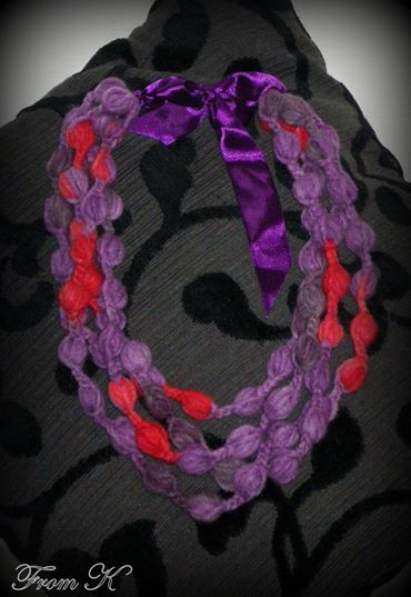 Crochet statement necklace. Perfect for wearing during winter, with formal or casual outfits. Very lightweight. They are metal free for those sensitive people. It is very very chic, warm and soft handmade piece. A little over 50 cm long (the shorter strand). Scarf is crocheted with wool and acrylic blended yarn. 25.00 Ron