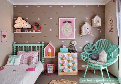 quarto de menina em cinza rosa e verde menta