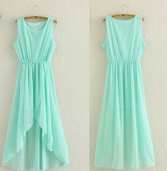 Chic Irregular Hem Chiffon Dress in Mint Green