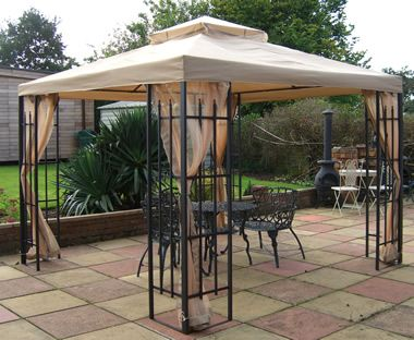 Deluxe metal framed Hot tub gazebo, spa bath shelters with side privacy nets and curtains with matching gazebo canopy.
