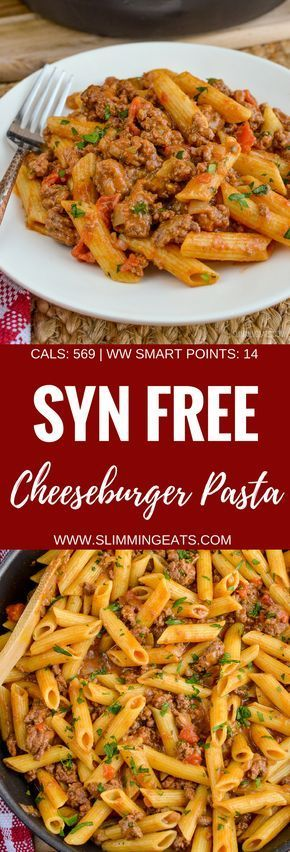 Slimming Eats Syn Free Cheeseburger Past One Pot – Monde minceur et poids Wa …   – cheeseburger pasta