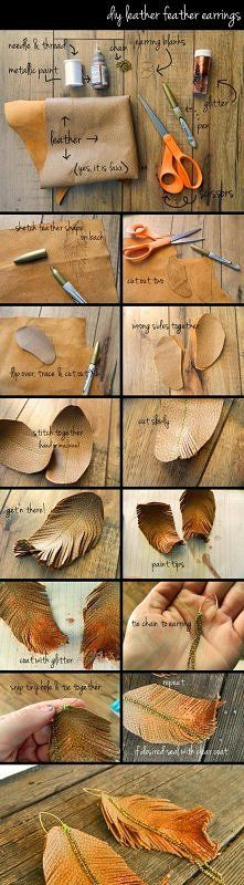 Leather feather earrings. These look gorgeous and easy to make!